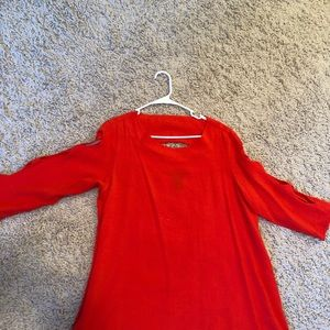 Tops - Orange top, with cut outs in sleeves, back
